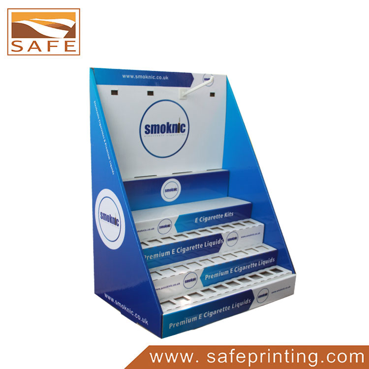3 Tiers Hooks Cardboard Electronic Cigarette Counter Display Box