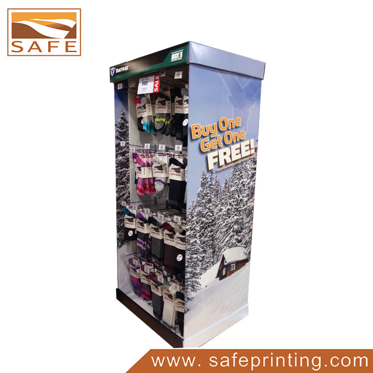 Cardboard Free Standing Pegboard Display Stand for Warm Socks