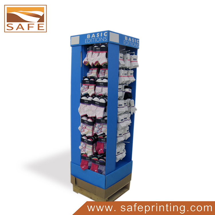 Custom Sock Point of Sale Carton 4 Way Quarter Pallet Display