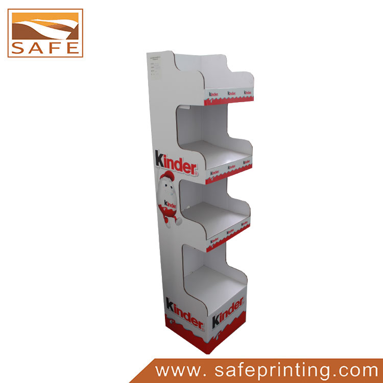 Customized Design Corrugated Snack Food 4 Shelves Floor Display Stand