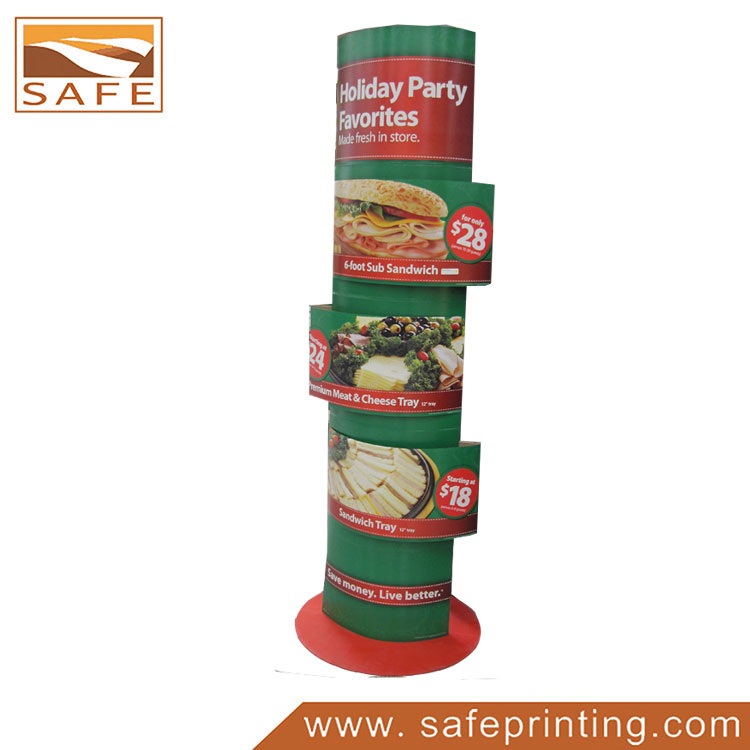 Foldable Paper Advertising Totem Display for Food
