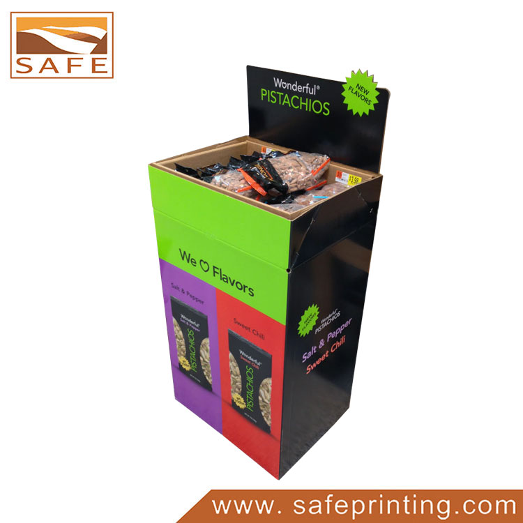 Folding Floor Cardboard Supermarket Dump Bins Display for Nuts Food