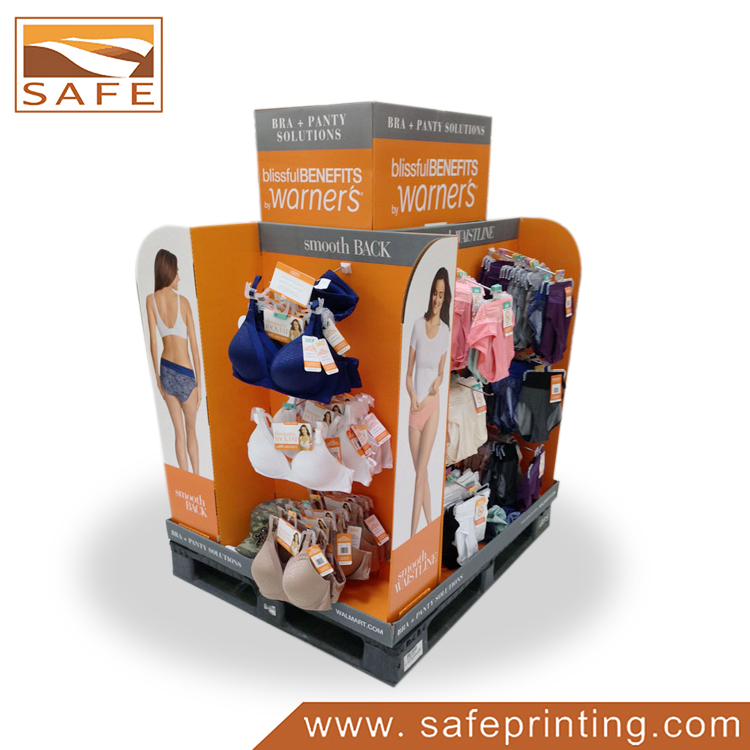 Good Quality and Price Supermarket Cardboard Pallet Display Rack for Underwear