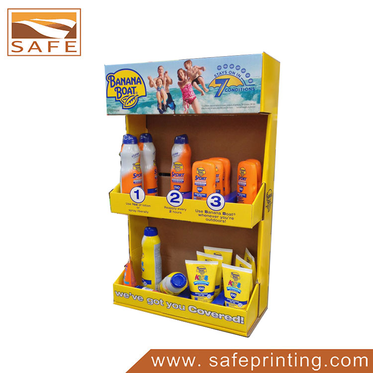 Pos Sidekick Cardboard Sunscreen Cream Display Stand